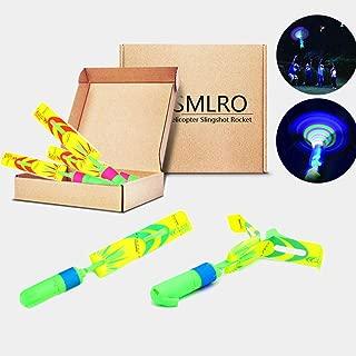 SMLRO LED Helicopter Slingshot Rocket - 12 Pack Outdoor Slingshot Shooting Games Rocket Toy for Kids Ages 6 Years and Up (New Upgrade Random Color)