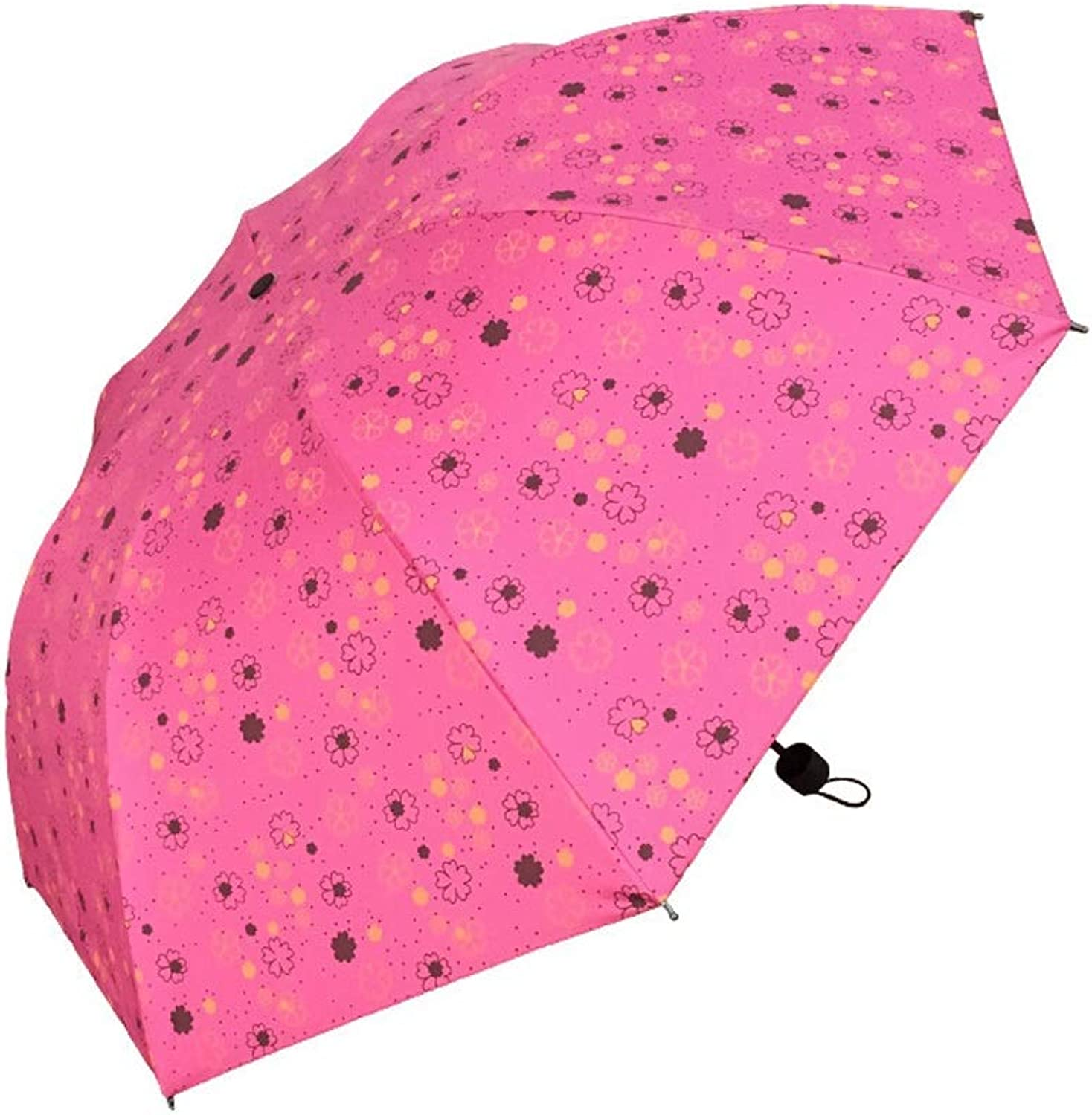 Folding Umbrella UV Predection Parasol Threefold Outdoor Flower Durable Lightweight Windproof (color   Red, Size   Free)