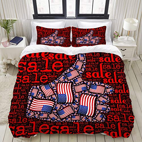 Duvet Cover Set, Thumb Like Icon American Flag Illustration, Colorful Decorative 3 Piece Bedding Set with 2 Pillow Shams, King Size