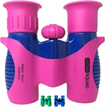 Living Squad Kids Binoculars 8x21 - Shock Proof Compact Binoculars for Kids. High Resolution Optics with Accessories for Bird Watching, Stargazing, Hunting and Hiking. Outdoor Gift for Children, Pink