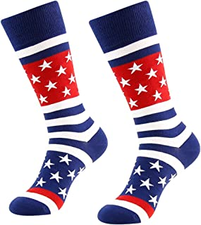 LANDUNCIAGA Men's American Flag Socks Patriotic Crew Gift Dress Sock 1/2/3/4/6 Pairs