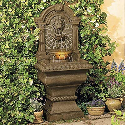 """Royal Lions Head Mediterranean Outdoor Wall Water Fountain with Light LED 51"""" High 3 Tiered for Yard Garden Patio Deck Home - John Timberland"""