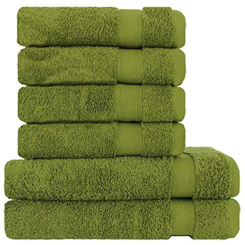Lareva Home Juego de toallas de rizo, color verde, 4 toallas de mano, 2 toallas de baño, 100 % algodón, juego de 6 piezas, calidad prémium, color verde