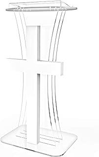 FixtureDisplays Clear Acrylic Lucite Podium Pulpit Lectern w/White Plexiglass Church Cross LED Light 11673+1803-1!