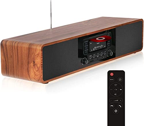 KEiiD CD Player for Home with Bluetooth Stereo System Wooden Desktop Speakers FM Radio USB SD AUX Remote Control, 28 ...