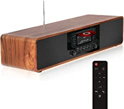 KEiiD CD Player for Home with Bluetooth Stereo System Wooden Desktop Speakers FM Radio..