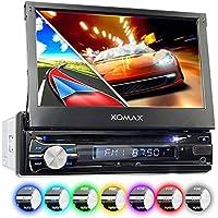 "XOMAX XM-DTSBN933 Radio de Coche con GPS I Bluetooth I 7"" Pantalla Táctil I DVD, CD, USB, SD, AUX I Conexiones para subwoofer, cámara de Vista Trasera y el Control a Distancia del Volante I 1 DIN"