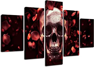 Abstract Skull Canvas Wall Art 5 Pieces Sugar Skull Day of The Dead Painting Red Rose Petal Feature Pictures Posters Prints Artwork Decor for Living Room Home Office Halloween Framed (60''Wx40''H)