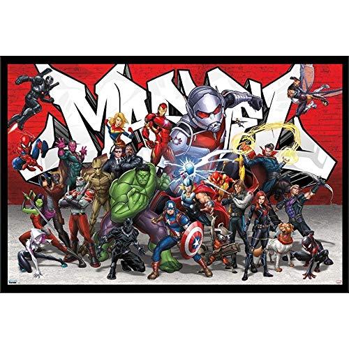 Marvel Avengers Movies Wall Art Decor Framed Poster   24x36 Premium (Canvas/Painting Like) Textured Print   Endgame Movie Avenger Iron Man, Thor & Hulk   Fan Memorabilia Gifts for Guys & Girls Bedroom