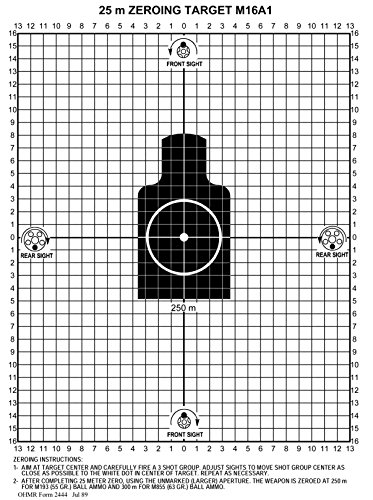 PlusTactical M16A1 25 Meter Zeroing Target On EZ Peel Notepad (White,25 Pack)