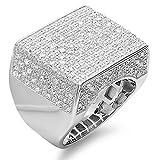 Dazzlingrock Collection Anillo de plata de ley con diamante redondo de 0,77 quilates para hombre, estilo hip hop helado de 3/4 quilates