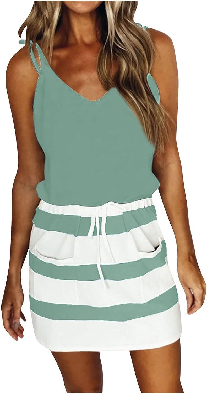 Oiumov Summer Dresses for Women OFFicial Oklahoma City Mall store Casual Sleeveless V-Neck Spaghet