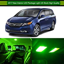 SCITOO 14Pcs Green Interior LED Light Package Kit Replacement Bulbs Fits for 2005-2010 for Honda Odyssey