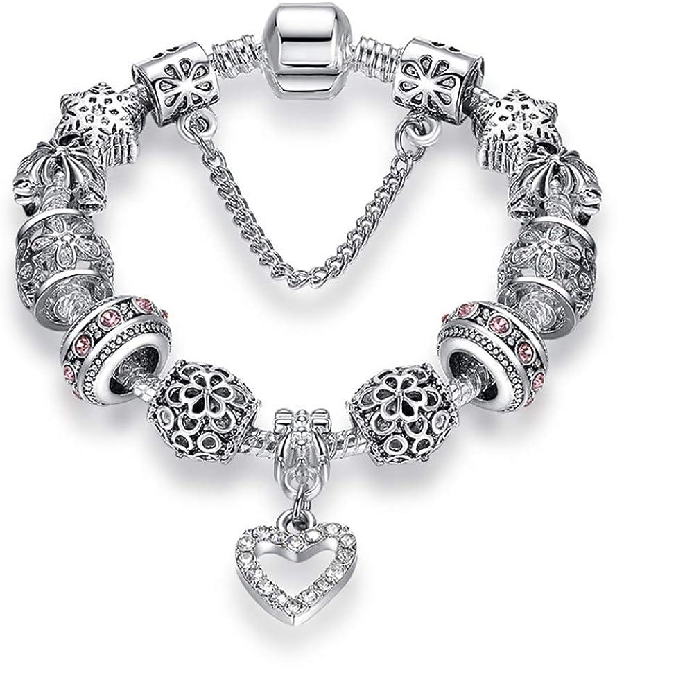 Fashion Philadelphia Purchase Mall Silver Color Heart Charms Diy Bracelet Bangle Women For