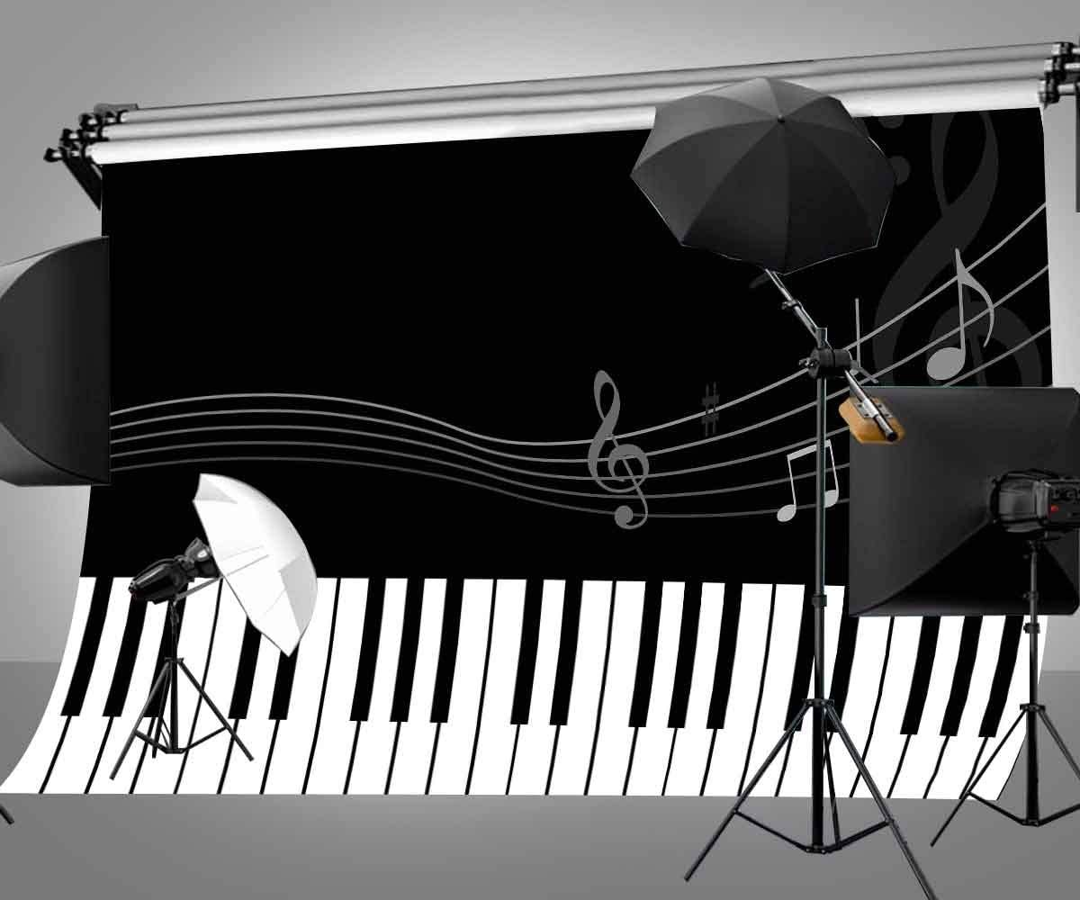 12x10ft Vinyl Black White Stripes Piano Backdrop Music Notes Flying Photography Background LYGE518 for Party Decoration Birthday YouTube Videos School Photoshoot Photo Background Props