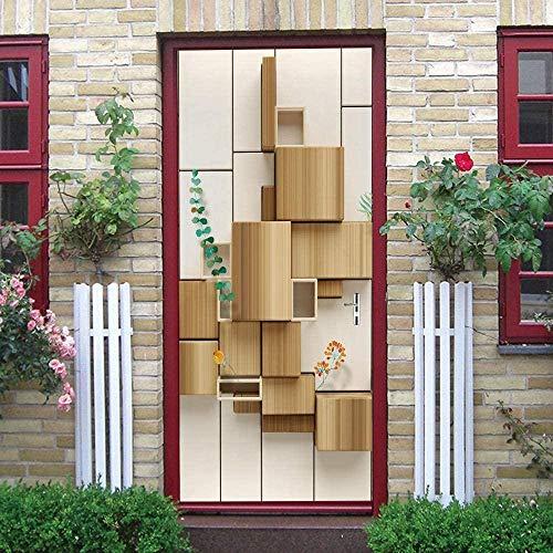 JJDSL Etiqueta de Puerta Vinilos para Puerta Pared Adhesivos Papel de Pared - Moderno arte madera cubo - 85x215 cm - para Cocina Baños Dormitorio Infantiles - 3D Autoadhesiva Impermeable Decorativo Et