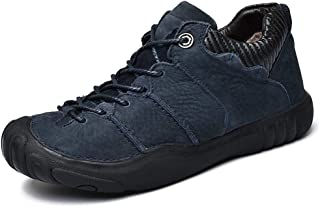 XinQuan Wang Gymnastic Shoes for Men Sports Shoes Lace Up Style OX Leather Fleece Inner Anti-Collision Toe (Color : Blue, Size : 8 UK)
