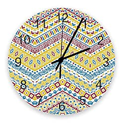 12 Inch Wooden Wall Clock Geometric Print in Colourful American Country Style Quartz Battery Operated Round Silent Non-Ticking Clock Decoration for Bedroon Office Classroom