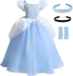Cinderella Costumes Girls Princess Dress Up Fancy Halloween Christmas Party with Tiara and Choker Set