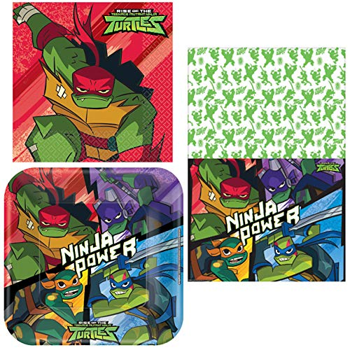 Rise of the TMNT - Napkins, Plates, Tablecover, Happy Birthday Party Bundle for 16 People - Includes 1 Maze Game Activity Card by ClassicVariety