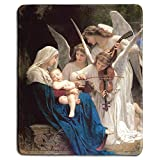 dealzEpic - Art Mousepad - Natural Rubber Mouse Pad with Famous Fine Art Painting of Song of The Angels (The Virgin with Angels) by William-Adolphe Bouguereau - Stitched Edges - 9.5x7.9 inches