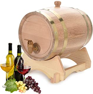 Yosoo Health Gear Baril en Bois de chêne 5L, Baril de vin de Distributeur de vin pour Le Stockage de spiritueux de bière W...