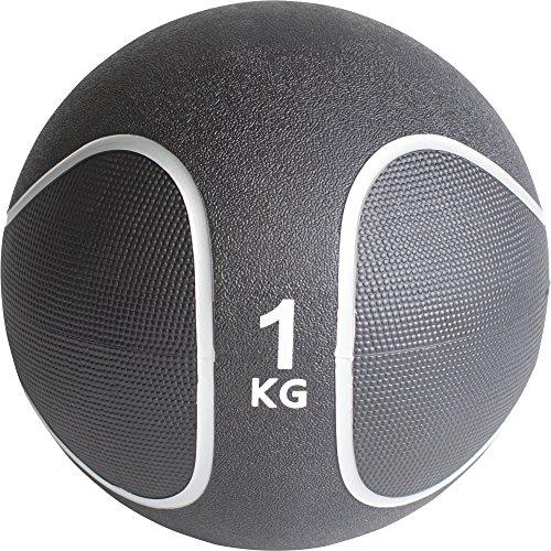 GORILLA SPORTS® Medizinball Gummi 1 kg – Fitnessball Schwarz/Silber
