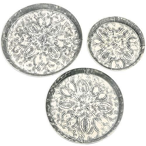Set van 3 Oosterse ronde dienbladen van metaal Animata | Marokkaans theetablet bont | Orient dienblad rond antislip | Oosterse decoratie op de gedekte tafel