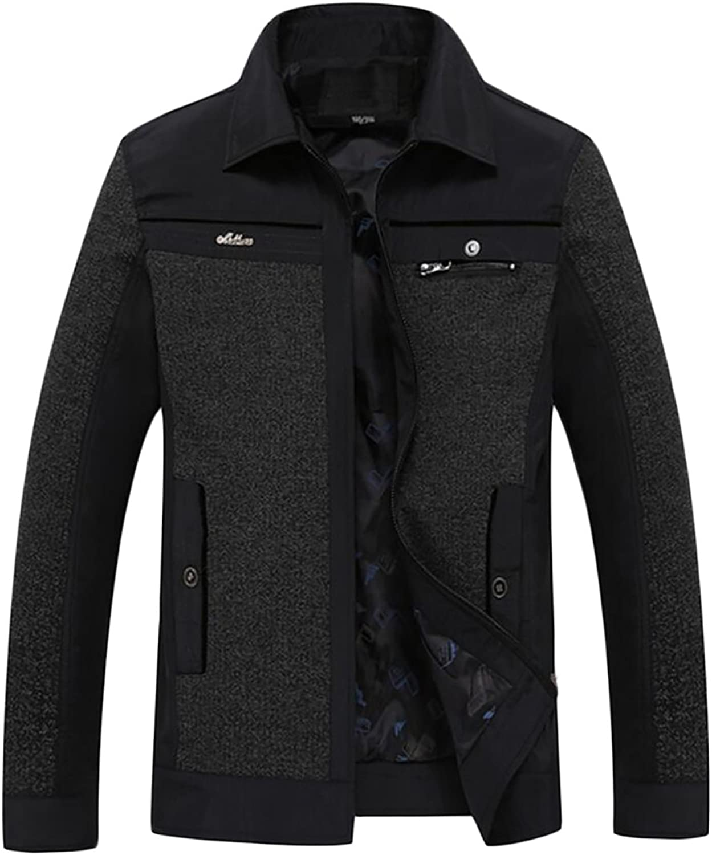 Ouxiuli Men's Winter Warm Long Sleeve Coat Thicker Cotton Casual Jackets Coats
