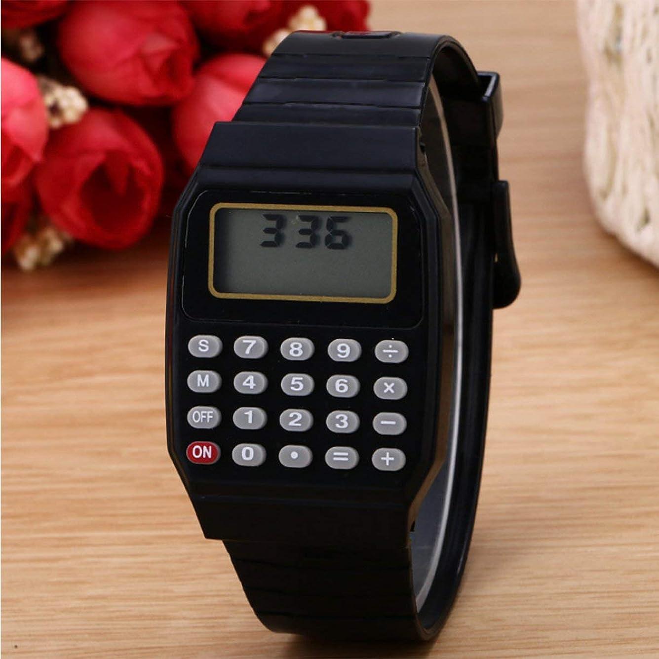 代表机日の出高品質実用子供学生電卓デジタル腕時計無地シリコーン快適な摩耗電卓腕時計子供のため