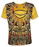 Mirror T-shirt Homme - Soleil psychédélique Taille M L XL Psychédélique Art Hippie Goa Trance (M, Jaune)