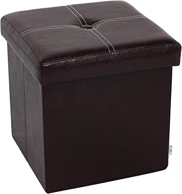"B FSOBEIIALEO Folding Storage Ottoman, Faux Leather Footrest Seat Coffee Table Toy Chest Kids, Brown 11.8""x11.8""x11.8"""