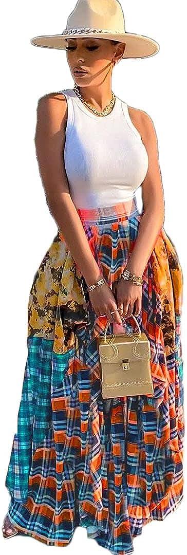 Pulkritu Women Irregular Maxi Skirts - Vintage Patchwork Plaid Long Skirt (Orange,XXXXL)