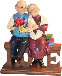 letsgood Creative Handmade Figurines Anniversary Gift - Resin Elderly Couple Statue for Anniversary, Wedding, Birthday, Thanksgiving Day, Home Decor (Style 2: Love)