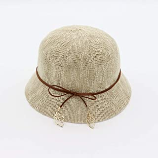 Hats Summer Breathable Beach Straw Hat Women's Hat Fashion (Color : Beige)