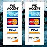 """Novosta Credit Card Sign - 2 Pack - We Accept - Visa, MasterCard, Amex and Discover - 9"""" x 4"""" Vinyl Decal for Window - Shop, Cafe, Office, Restaurant - Outside Facing Out"""