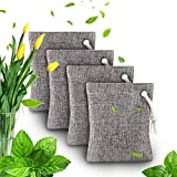 Air Purifying Bag - Bamboo Charcoal Air Purifying Deodorizer Bags 4 Pack Set for Fridge Freezers Cars Closet Shoes Kitchens Basements Bedrooms Living Areas - Keeps Rooms Fresh, Dry, and Odor Free