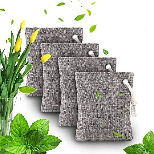 Luchtzuiverende zak - Bamboe Houtskool Luchtzuiverende geurverdrijvingszakken Set van 4 voor koelkasten Diepvriezers Autos Kast Schoenen Keukens Kelders Slaapkamers Woonruimtes - Houdt kamers fris, droog en geurvrij