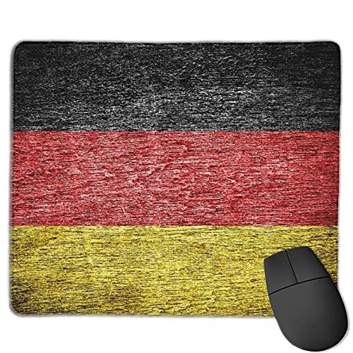 Dekoratives Gaming-Mauspad,Deutschland Deutsche Flagge auf altem Holz ge,Bürocomputer-Mausmatte mit rutschfester Gummibasis