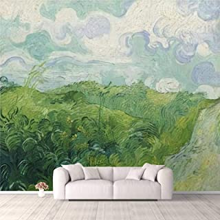 Modern 3D PVC Design Removable Wallpaper for Bedroom Living Room Green Wheat Fields Auvers by Vincent van Gogh 1890 Dutch ...
