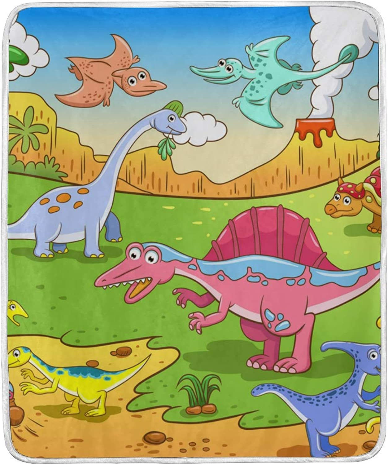 My Daily Cute Dinosaurs Cartoon Kids Throw Blanket Soft Warm Couch Blanket Polyester Microfiber Lightweight Bed Blanket 50x60 inch