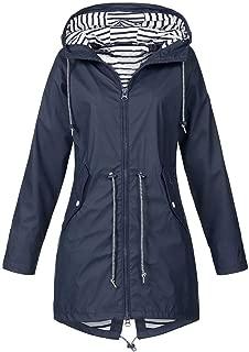 iHHAPY Women's Outdoor Jackets Raincoat Transitional Jacket Windbreaker Waterproof Jacket Hooded Jacket Stripe Pattern