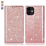 OKZone Cover iPhone 11,Custodia Lucciante con Brillantini Glitters Design Flip Caso in Pelle PU Portafoglio con Interno TPU Protettiva Cover per Apple iPhone 11 (6,1 Pollici) (Oro Rosa)