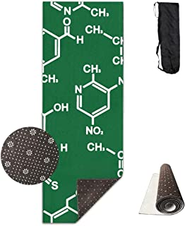 Green Background Chemistry Structure Deluxe,Yoga Mat Aerobic Exercise Pilates Anti-Slip Gymnastics Mats