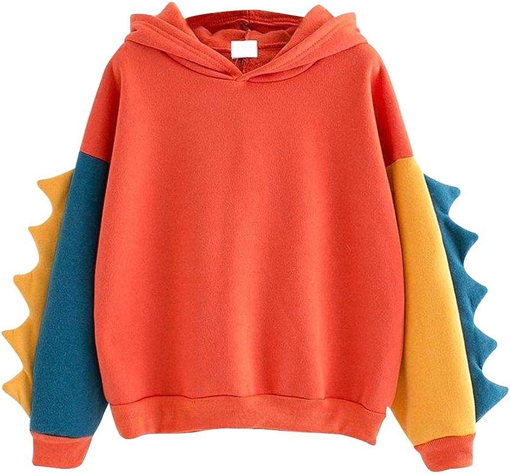 Womens Hoodies for Teen Girl Dinosaur Long Sleeve Sweatshirt Junior Cute Tops Over Size Hooded Sweatshirts