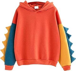 Women Casual Loose Color Block Long Sleeve Dinosaur Hoodies Pullover Tops Hooded Sweatshirt