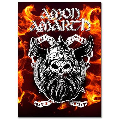 LaMAGLIERIA Hochqualitatives Poster - Amon Amarth Viking Skull - Posterdruck glänzend laminiert im Großformat, 70cmx100cm