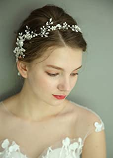 fxmimior, accessorio per capelli da sposa, accessorio per capelli da sposa, accessorio per capelli con perline di cristall...