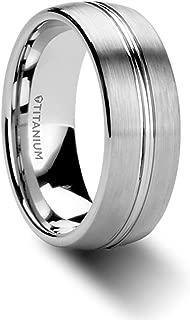 Thorsten Upton   Titanium Rings for Men   Lightweight Titanium   Comfort Fit   Titanium Brushed Finish Men's Wedding Ring with Polished Grooved Center - 8 mm