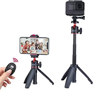 ULANZI Mini Vlog Tripod Set, Extendable Small Selfie Stick Tripod+Phone Tripod Mount Cold Shoe+Remote Controller+Universal...